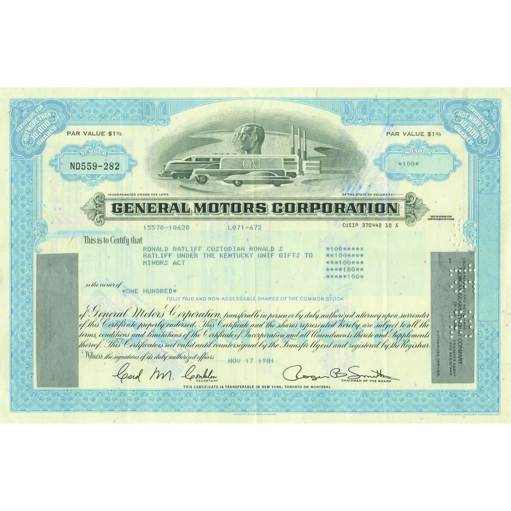 General motors corp share certificate postcards other for General motors stock history