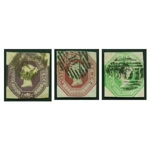 1847-54 6d, 10d, 1/- Embossed Set