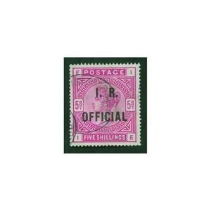 1890 5/- Rose overprinted I.R Official