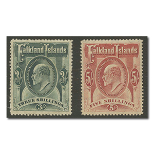 Falkland Islands 1904-12 3/- Green & 5/- Red l/m