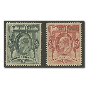 Falkland Islands 1904-12 3/- Green & 5/- Red l/m