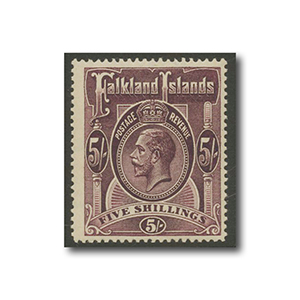 Falkland Islands 1916 5/- maroon mint
