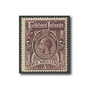 Falkland Islands 1916 5/- maroon mint