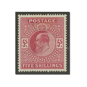 1911-13  5/- Carmine - Somerset House printing l/m