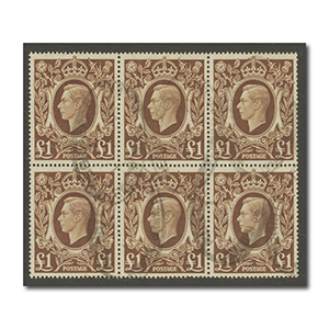 1939-48  £1 brown block of six l/m