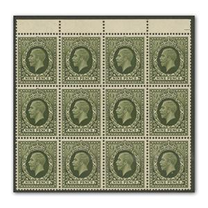 1934 9d photogravure block of 12. u/m