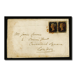 1840 Penny Black pair on cover