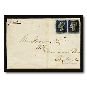 1840 2d Blue pair on cover