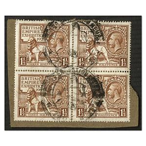 1924 British Empire Exhibition 1 1/2d   SG433 GU  block.