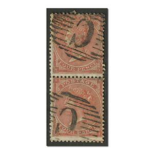 QV 4d Vermillion pair used 'Constantinople'