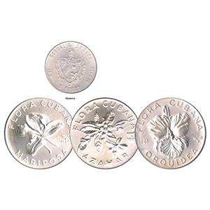1980-81 Cuba 5 pesos Silver Flowers set