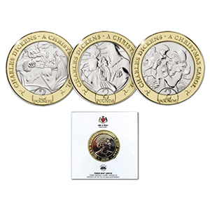 IoM 2020 Scrooge & Ghost of Christmas Past & Yet to Come  £2 coin