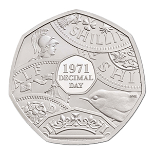 2021 Royal Mint Decimal Day 50p coin