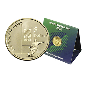 2003 AUS Rugby World Cup Presentation Card $5 Uncirculated Coin