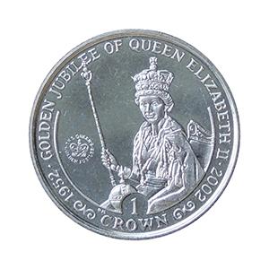 IOM 2002 Queen Golden Jubilee (on throne) Crown