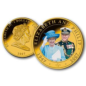 Elizabeth II and Philip Portrait 24ct Gold-Plated Diamond Wedding Photographic Coin