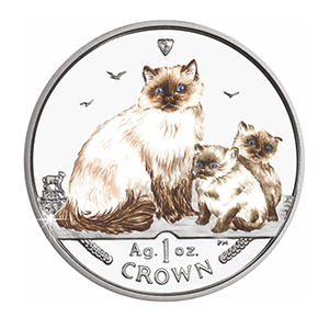 2005 Isle of Man  - Colourised Cat Crown Coin