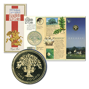 1987 Brilliant Uncirculated English £1 Coin in Folder