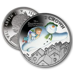 2014 Isle of Man - 'The Snowman and The Snowdog' Colourised Crown Coin