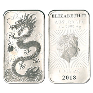 2018 1oz Dragon Rectangular 9999 Silver Coin