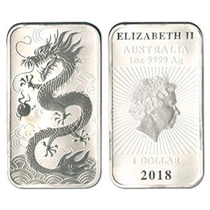 2018 1oz Dragon Rectangular 9999 Silver Coin