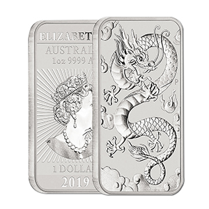 2019 1oz Dragon Rectangular 9999 Silver Coin