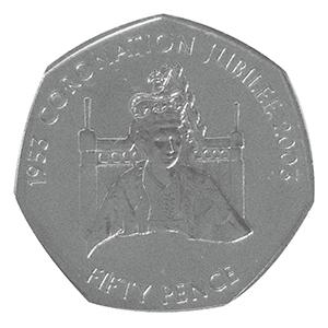 2003 Jersey Coronation Jubilee Throne 50p Coin