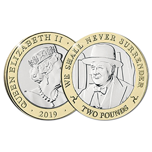 2019 IoM D-Day Churchill  £2 coin
