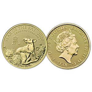 2020 Royal Mint 1/4 oz Year of the Rat Gold Coin