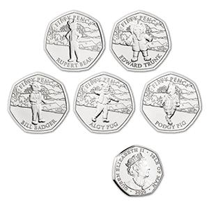 2020 IOM Rupert Bear Set 5 x  50p Coins