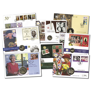 HM Queen Golden Jubilee Coin Covers x 59