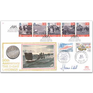 1994 D-Day Coin Cover Signed Brig, James Hill