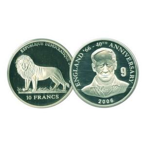 2006 10 Francs Silver Congo Coin - World Cup Anniversary - Bobby Charlton No. 9