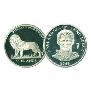 2006 10 Francs Silver Congo Coin - World Cup Anniversary - Alan Ball No. 7