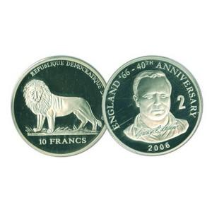 2006 10 Francs Silver Congo Coin - World Cup Anniversary - George Cohen No. 2