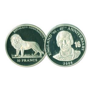 2006 10 Francs Silver Congo Coin - World Cup Anniversary - Martin Peters No. 16
