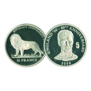 2006 10 Francs Silver Congo Coin - World Cup Anniversary - Jack Charlton No. 5