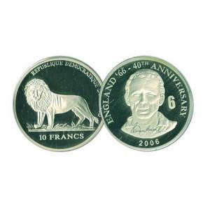 2006 10 Francs Silver Congo Coin - World Cup Anniversary - Bobby Moore No. 6