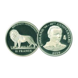 2006 10 Francs Silver Congo Coin - World Cup Anniversary - Nobby Stiles No. 4
