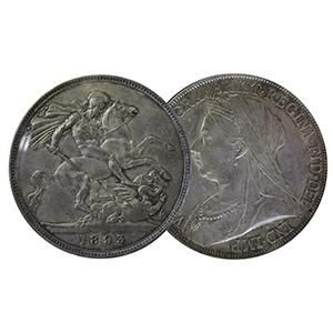 """1893 Silver """"LVI"""" edge Crown Coin"""