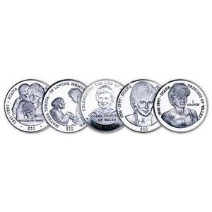 Princess Diana Commemorative Sterling Silver 5 Coin Set