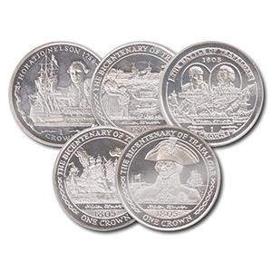 Trafalgar/Nelson Set of Five Silver Proof Coins