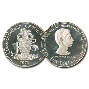 1978 Bahamas 5th Anniversary Prince Charles $10 Proof Silver Coin