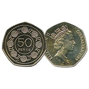 1989 Gibraltar Candytuft 50 pence (KM#17)