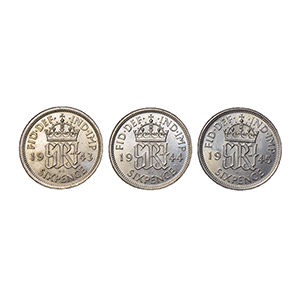 United Kingdom 1943-45 Date Run of Silver 6d Coins