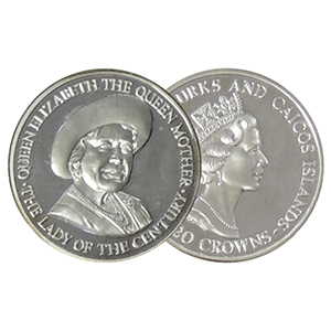 1995 Turks & Caicos Lady of the Century Silver 20 crowns