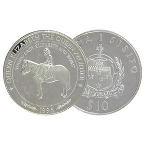 1994 Samoa Queen Mother Horseback silver $10 Coin