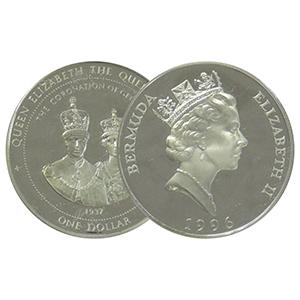 1996 Bermuda Queen Mother  silver $1 Coin