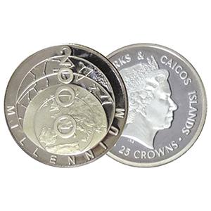 2000 Turks & Caicos Millenium silver 25 Crowns