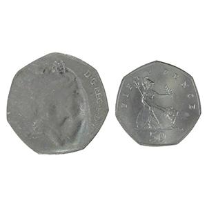 1997 Mis-strike 50p coin